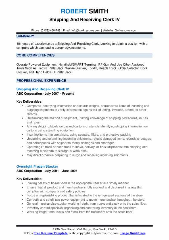 shipping and receiving clerk resume samples