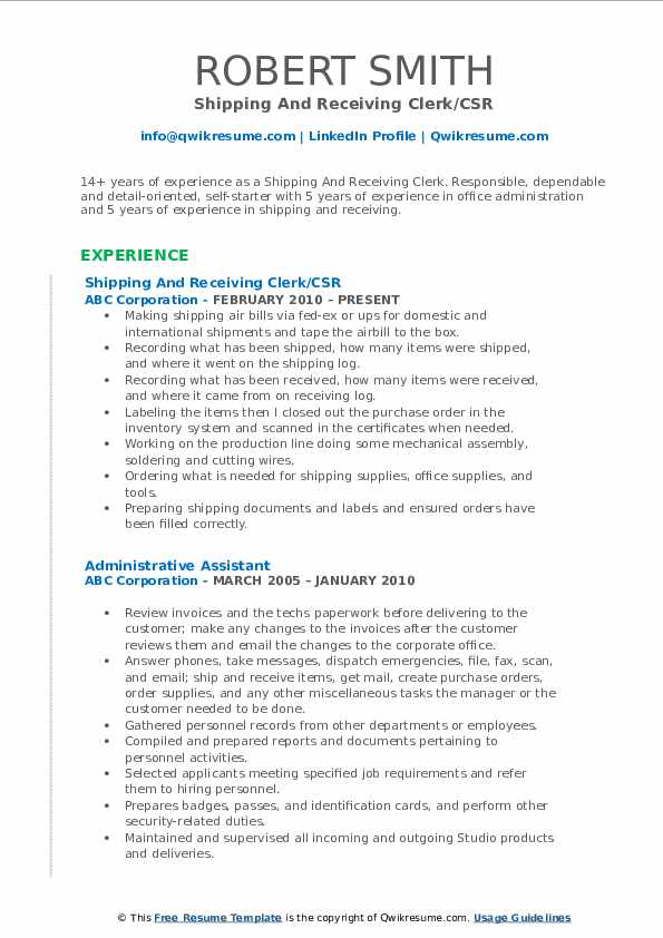 shipping and receiving clerk resume samples  qwikresume