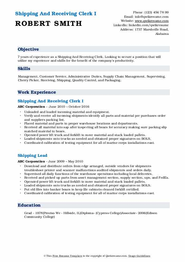 Shipping And Receiving Clerk I Resume Template