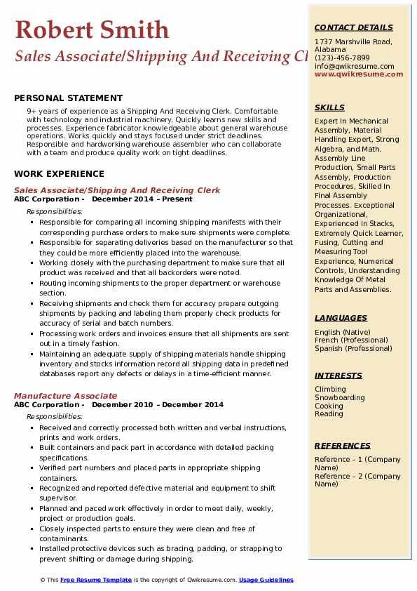 Sales Associate/Shipping And Receiving Clerk Resume Sample