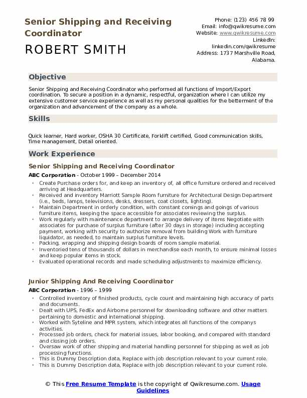 shipping and receiving coordinator resume samples