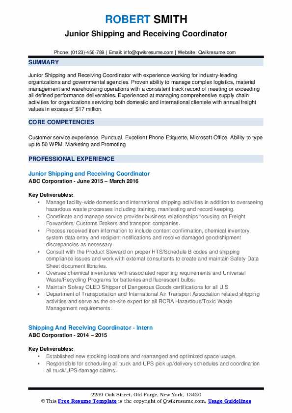 Junior Shipping and Receiving Coordinator Resume Model