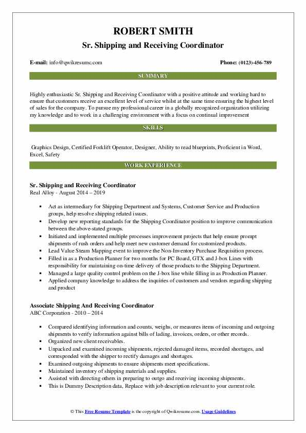 Sr. Shipping and Receiving Coordinator Resume Model