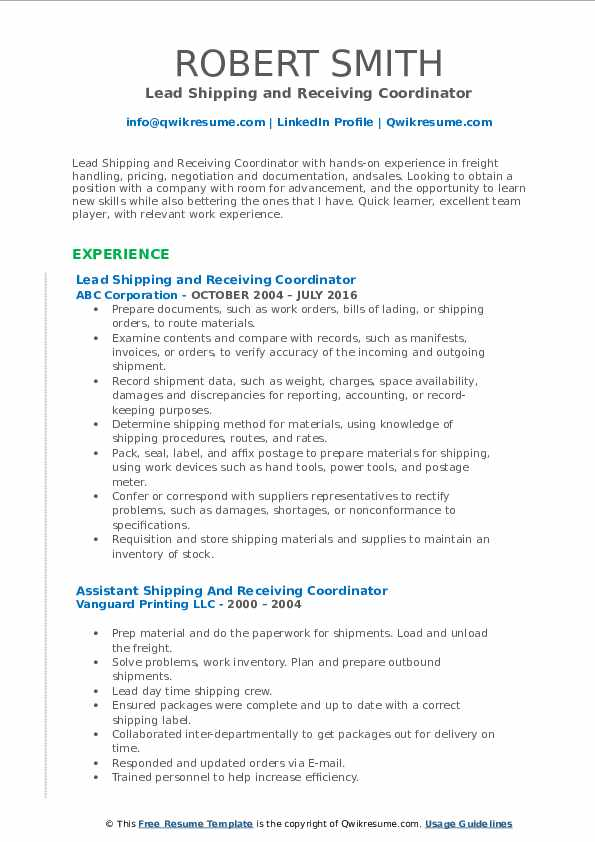 Lead Shipping and Receiving Coordinator Resume Model