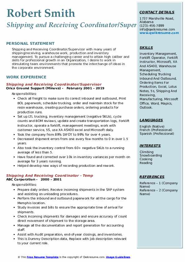 Shipping and Receiving Coordinator/Supervisor Resume Example