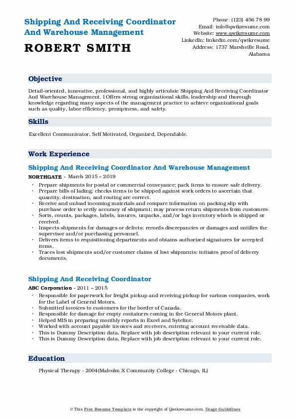 Shipping And Receiving Coordinator And Warehouse Management Resume Template