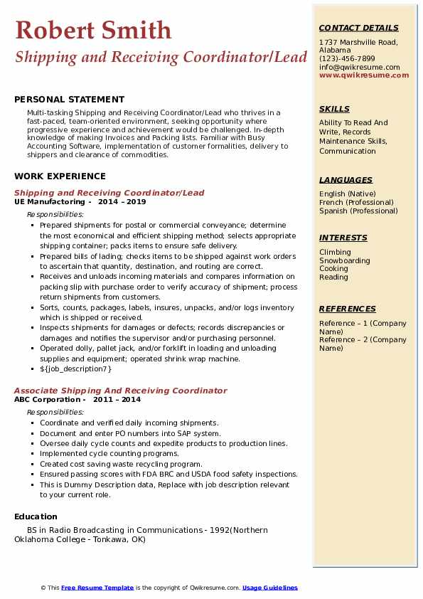 Shipping and Receiving Coordinator/Lead Resume Model