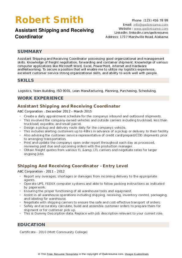 Assistant Shipping and Receiving Coordinator Resume Sample