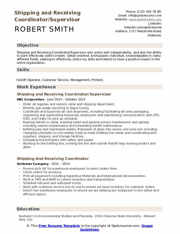 Shipping and Receiving Coordinator/Supervisor Resume Template
