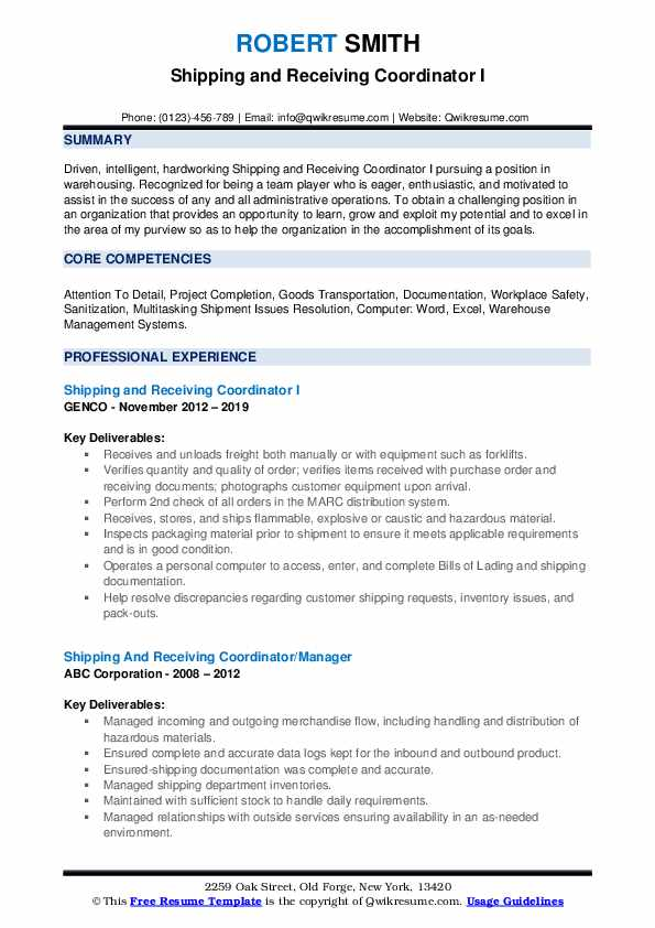 Shipping and Receiving Coordinator I Resume Template