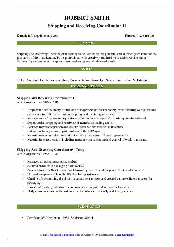 Shipping and Receiving Coordinator II Resume Model