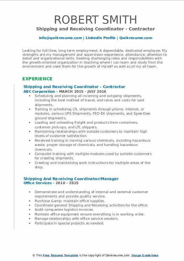 Shipping and Receiving Coordinator - Contractor Resume Format