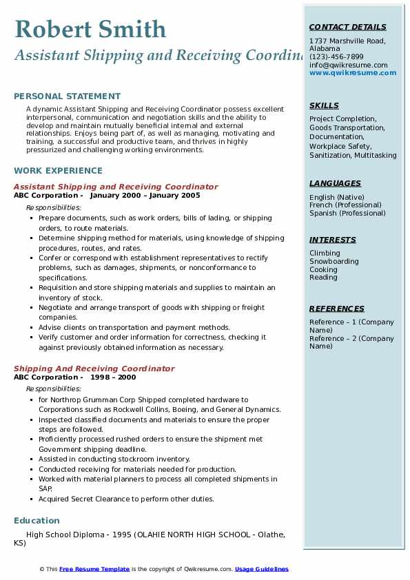 Assistant Shipping and Receiving Coordinator Resume Model