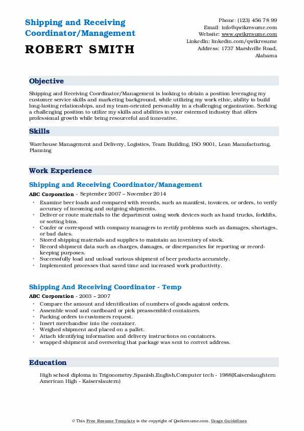 Shipping and Receiving Coordinator/Management Resume Sample