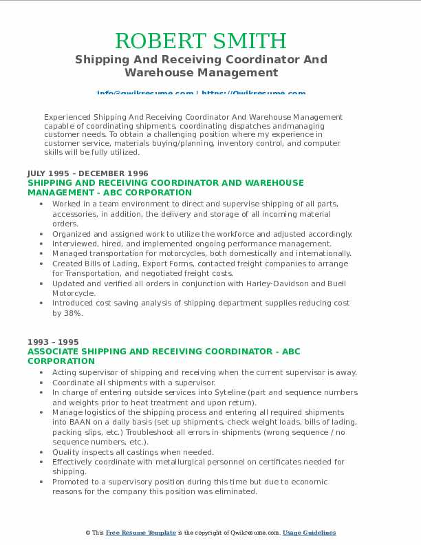 Shipping And Receiving Coordinator And Warehouse Management Resume Example