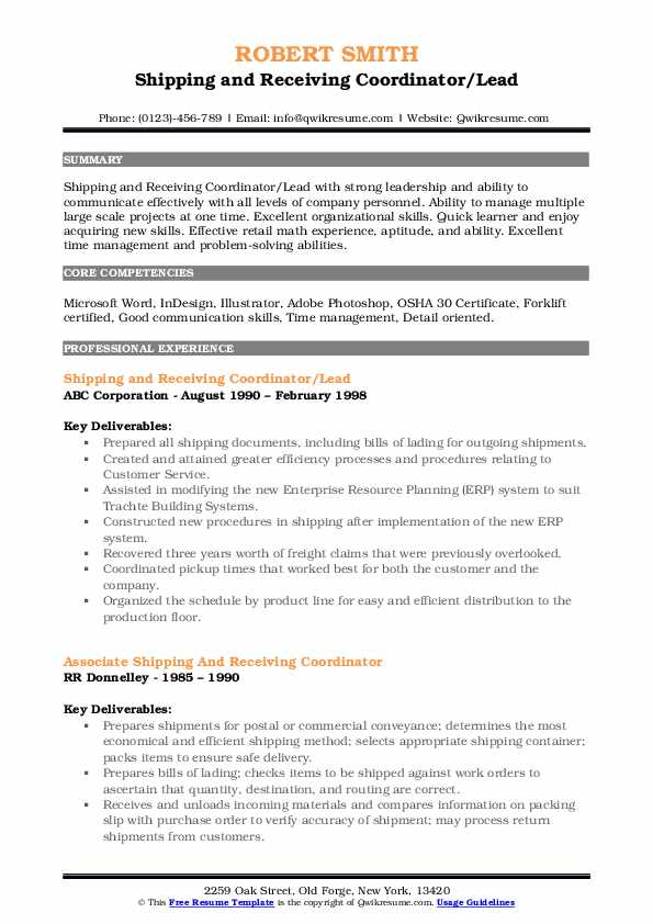 Shipping and Receiving Coordinator/Lead Resume Example