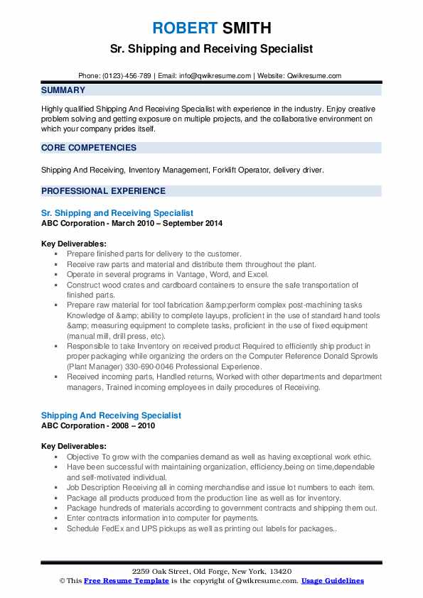 shipping and receiving specialist resume samples  qwikresume