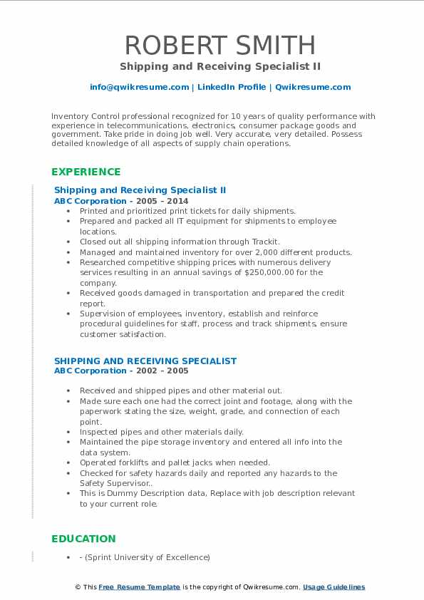 shipping and receiving specialist resume samples