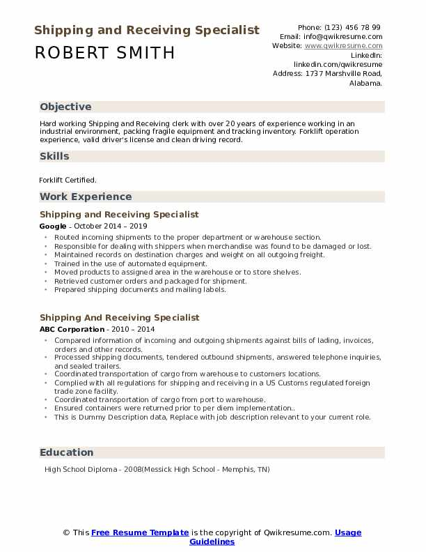 Shipping And Receiving Specialist Resume example
