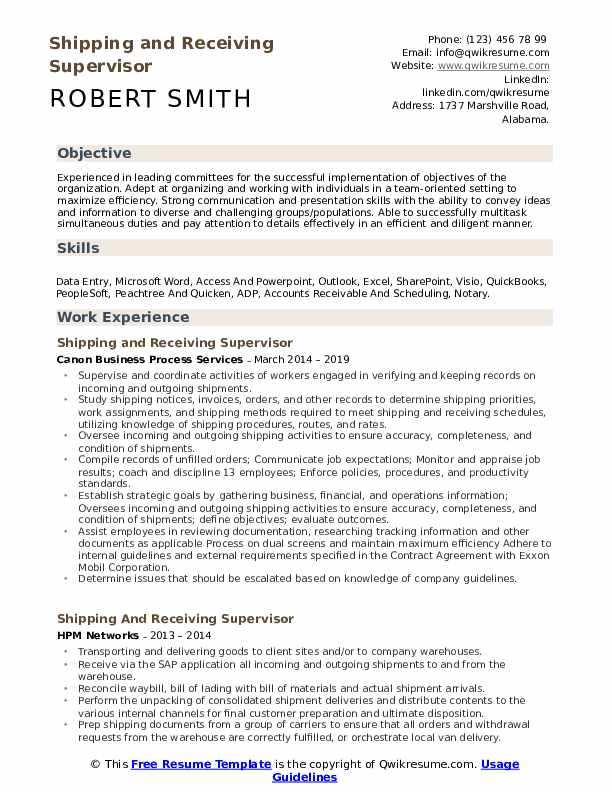 Shipping and Receiving Supervisor Resume Example