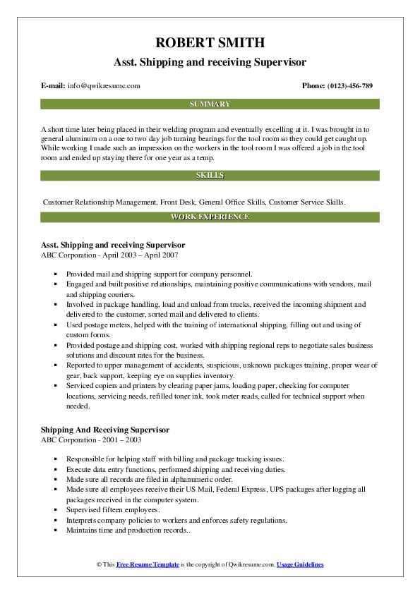 Asst. Shipping and receiving Supervisor Resume Sample