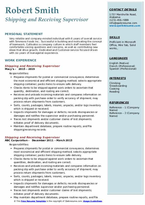 Shipping and Receiving Supervisor Resume Sample