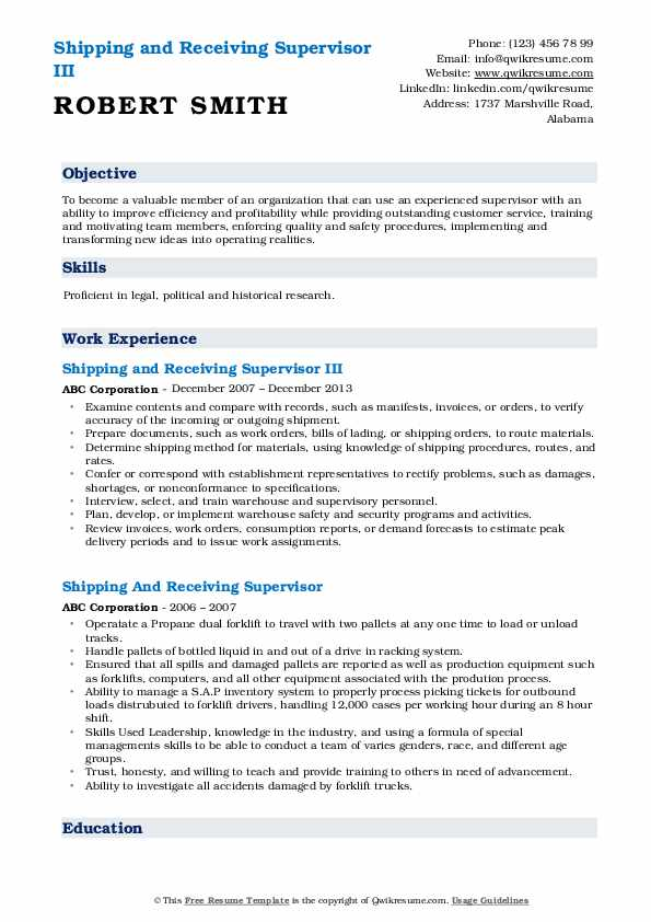 Shipping and Receiving Supervisor III Resume Template