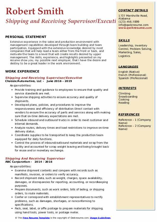 Shipping and Receiving Supervisor/Executive Resume Template