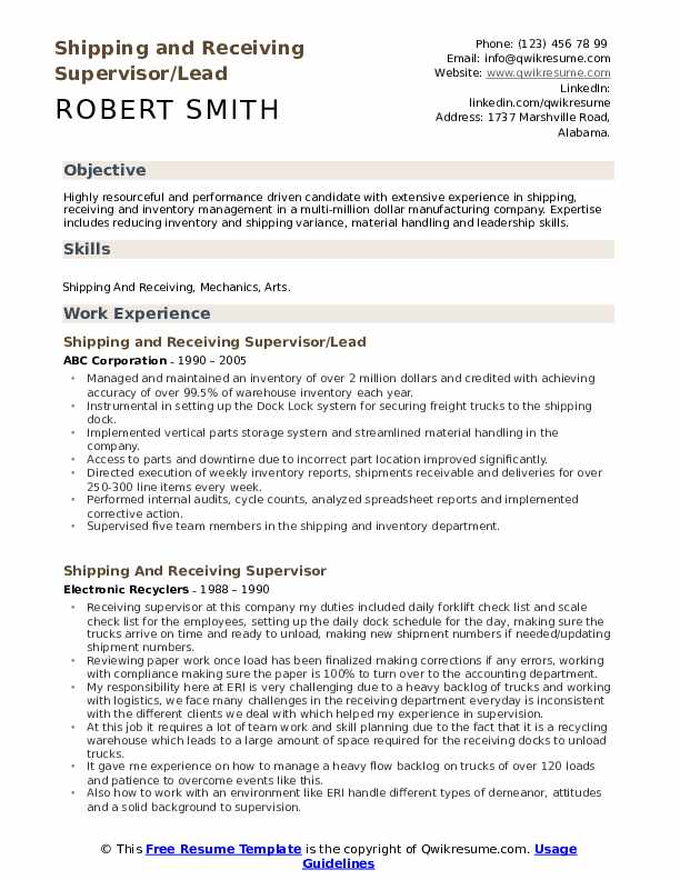 Shipping and Receiving Supervisor/Lead Resume Template