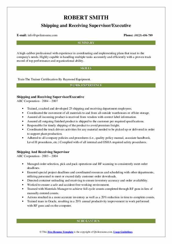 Shipping and Receiving Supervisor/Executive Resume Model