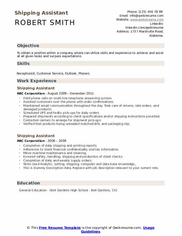 Shipping Assistant Resume example