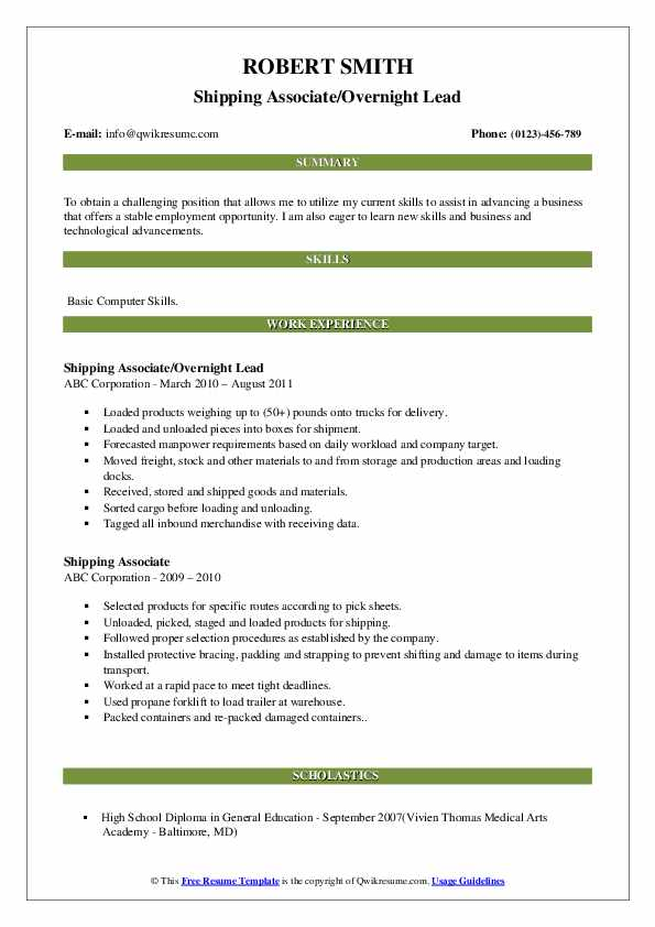 Shipping Associate/Overnight Lead Resume Format
