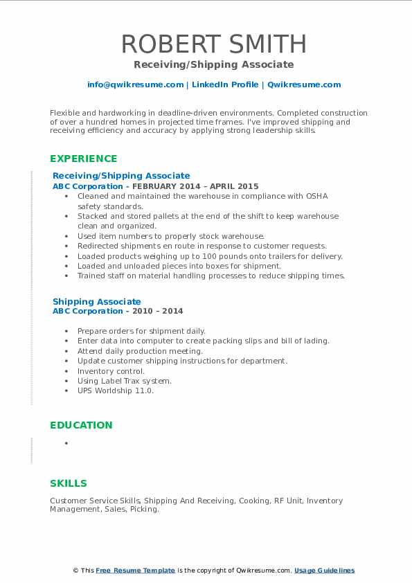 Receiving/Shipping Associate Resume Sample