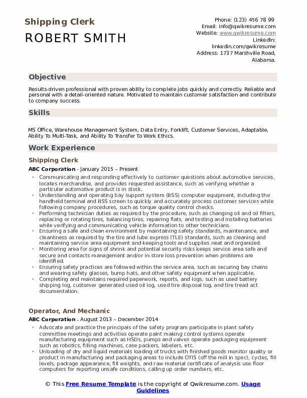 Shipping Clerk  Resume Template