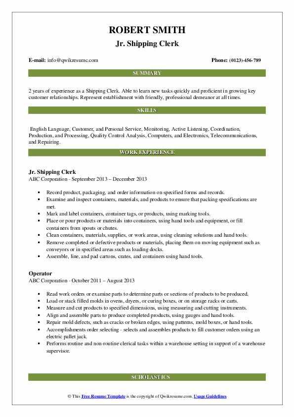 Jr. Shipping Clerk Resume Template