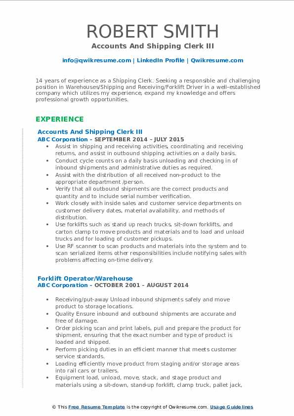 Accounts And Shipping Clerk III Resume Model