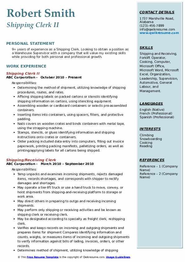 Shipping Clerk II Resume Format