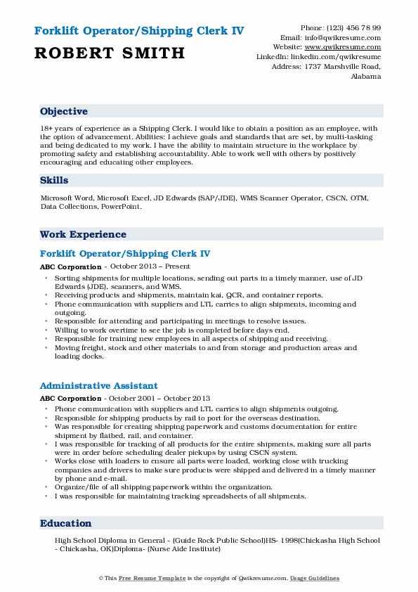Forklift Operator/Shipping Clerk IV Resume Model