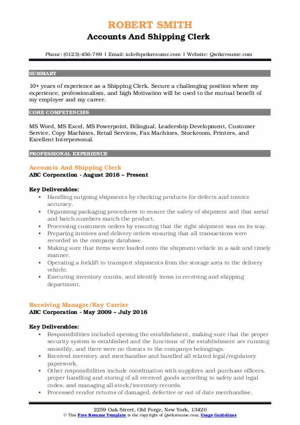 Accounts And Shipping Clerk  Resume Format