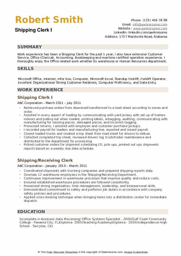 Shipping Clerk Resume example