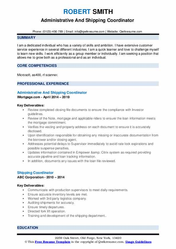 Administrative And Shipping Coordinator  Resume Example