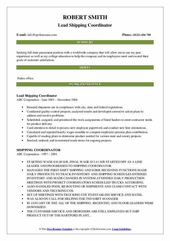 Lead Shipping Coordinator Resume Model