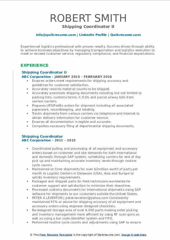 Shipping Coordinator II Resume Template