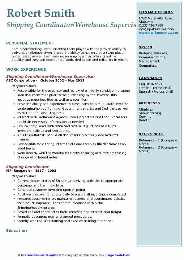 Shipping Coordinator/Warehouse Supervisor Resume Template