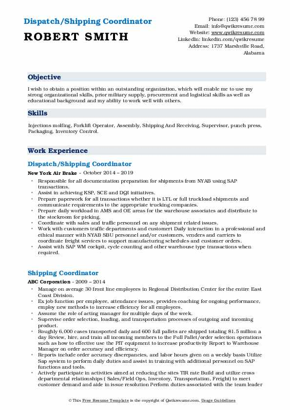 Dispatch/Shipping Coordinator Resume Template