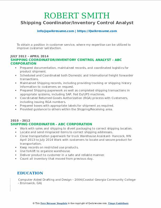 Shipping Coordinator/Inventory Control Analyst Resume Format