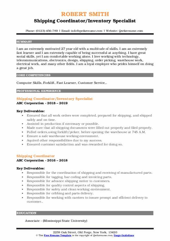 Shipping Coordinator/Inventory Specialist Resume Template