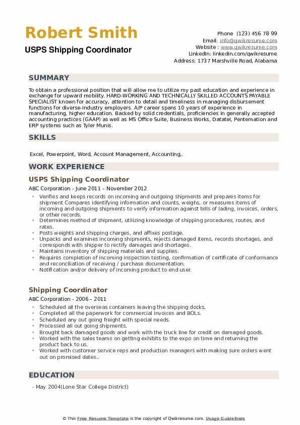USPS Shipping Coordinator Resume Sample