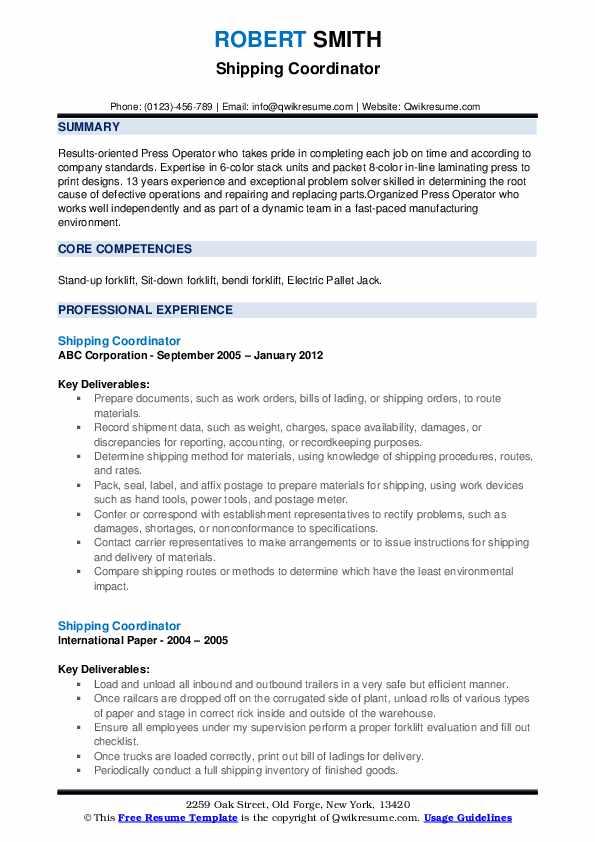 Shipping Coordinator Resume example
