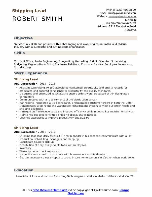 Shipping Lead Resume Template